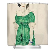 Girl With Green Dress Shower Curtain