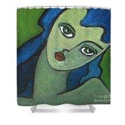 Girl With Green Eye Shower Curtain