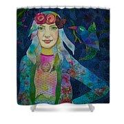 Girl With Kaleidoscope Eyes Shower Curtain