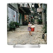 Girl With Laundry Basket Shower Curtain