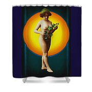Girl With Leaves Shower Curtain