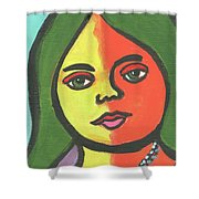 Girl With Necklace Shower Curtain