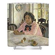 Girl With Peaches Shower Curtain by Valentin Aleksandrovich Serov