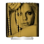 Girl With Pearls II Shower Curtain