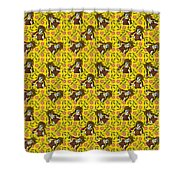 Girl With Popsicle Yellow Floral Shower Curtain