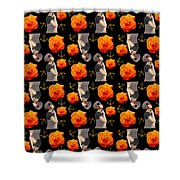 Girl With Roses And Anchors Black Shower Curtain