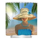 Girl With Summer Hat Shower Curtain