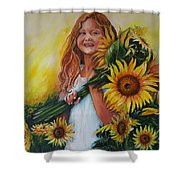 Girl With Sunflowers Shower Curtain