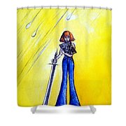 Girl With Sword. Astral Traveler Shower Curtain