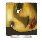 Girl With The Pearl Earring Close Up Shower Curtain