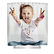 Girl With Victory Sign Sticking Out Her Tounge Shower Curtain