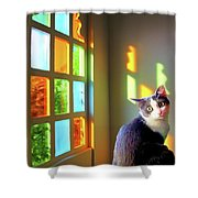 Girlie Goes To Church Shower Curtain