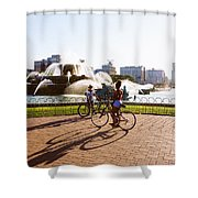Girls At The Fountain Shower Curtain