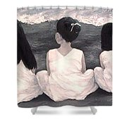 Girls In White At The Beach Shower Curtain