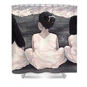 Girls In White At The Beach Shower Curtain by Patricia Awapara