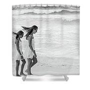 Girls On Beach Shower Curtain