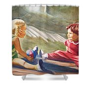 Girls Playing Ball  Shower Curtain