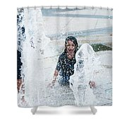 Girls Playing In Fountain  Shower Curtain