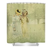 Girls Strolling In An Orchard Shower Curtain