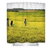Girls Walking In The Field Shower Curtain
