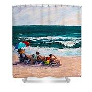 Girsl On The Beach Shower Curtain