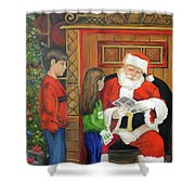 Giving The List To Santa Shower Curtain