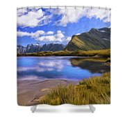 Glacier Lake On The Milford Track Shower Curtain