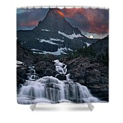 Glacier Morning Waterfall And Moonset Shower Curtain