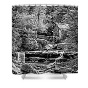 Glade Creek Grist Mill 3 - Paint 2 Bw Shower Curtain