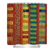 Glamorous Beach Cabins Under Squared Sky Shower Curtain