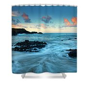 Glass Beach Dawn Shower Curtain by Mike  Dawson