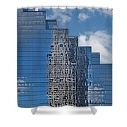 Glass Building Reflections Shower Curtain