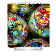 Glass Marbles In Containers Shower Curtain