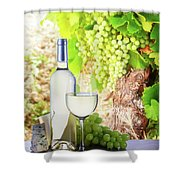 White Wine In Vineyard Shower Curtain
