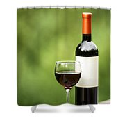 Glass Of Red Wine Outdoors Ready To Enjoy Shower Curtain