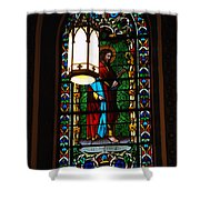 Glass Window Of Saint Philip In The Basilica In Santa Fe  Shower Curtain