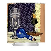 Glass With Ballerina Shower Curtain