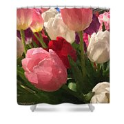 Glazed Tulip Bouquet Shower Curtain