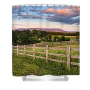 Glendale Road View Of Mount Tom Shower Curtain by Sven Kielhorn