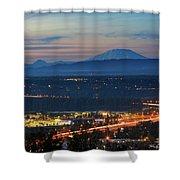 Glenn L Jackson Bridge And Mount Saint Helens After Sunset Shower Curtain