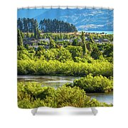 Glenorchy Lagoon At Golden Hour, New Zealand Shower Curtain