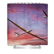 Gliders Over The Devil's Dyke At Sunset Shower Curtain