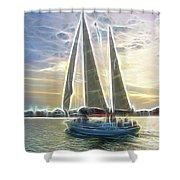 Glimmering Sailboat Shower Curtain by Ella Char