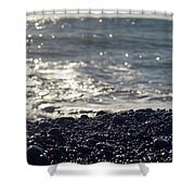 Glistening Rocks And The Ocean Shower Curtain