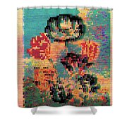 Glitched Tulips Shower Curtain