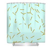 Glitter Confetti On Aqua Gold Pick Up Sticks Pattern Shower Curtain by Tina Lavoie