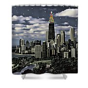 Glittering Chicago Christmas Tree Shower Curtain
