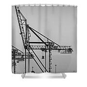 Global Containers Terminal Cargo Freight Cranes Bw Shower Curtain