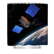 Global Positioning System Satellite In Orbit Shower Curtain