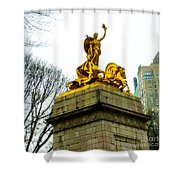 Gloden Maine Statue By Central Park New York Shower Curtain